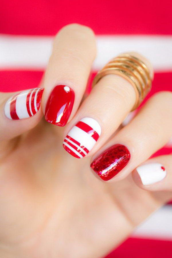SG50 Nail Art: Red-and-white nails inspiration